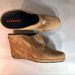 Prada tan slip on wedge slides